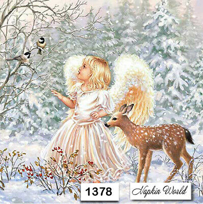 (1378) TWO Individual Paper Luncheon Decoupage Napkins - ANGEL BIRDS DEER FOREST