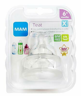 MAM Silicone Baby Bottle Nipple Cross Cut 6+ Months - 2 Teats