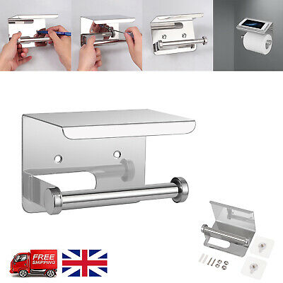 Stainless Steel Self Adhesive Loo Toilet Roll Paper Holder & Mobile Phone Holder