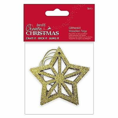 Papermania Gold Glitter Joy Noel Wish Peace Love Christmas Sentiment Wooden Word