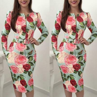 Fashion Women Dress Prom Floral Print Skinny Evening Party Dresses Clothes LA