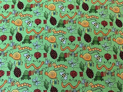 Green FQ Fat Quarter Fabric Insects Bugs Glitter 100% Cotton Quilting