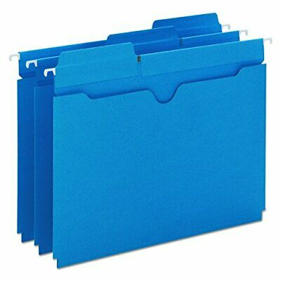 Smead FasTab Hanging File Jacket, 13-Cut Built-In Tab, Letter Size, Sky Blue,...