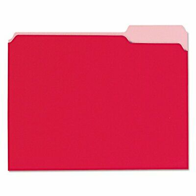 Universal 12303 Recycled Interior File Folders, 13 Cut Top Tab, Letter, Red, ...