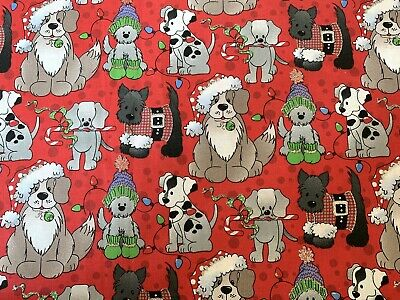 Red Christmas Dogs FQ Fat Quarter Fabric Glitter Xmas 100% Cotton Quilting