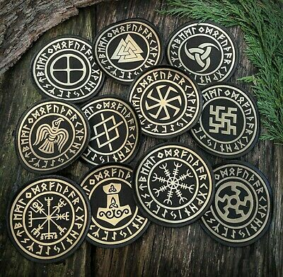 Norse Viking / Pagan Symbol Sew On Gold Fabric Patches, Heathen, Asatru, Slavic