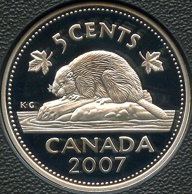 2007 Canada Frosted Proof Silver 5 Cent Coin ( 5.35 Grams .925 )