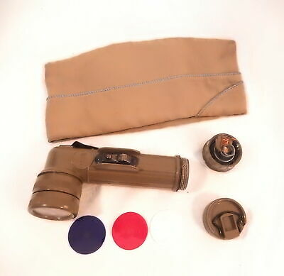 Vintage Military Hat & Flashlight With Signal Lenses From Estate