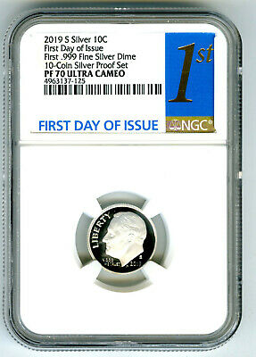 2019 S First .999 Fine Silver Proof Dime Ngc Pf70 First Day Of Issue Ultra Cameo