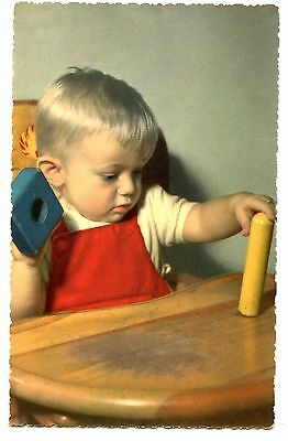 Cute Baby Boy-High Chair Plays w/ Wood Block Toys-Vintage Postcard-Made in Italy