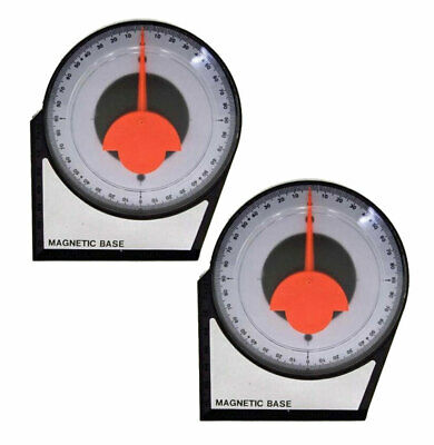 """X 2 pcs Magnetic Dial Gauge Angle Finder Tool 4-1/8"""" Protractor Slope 0-90 deg"""