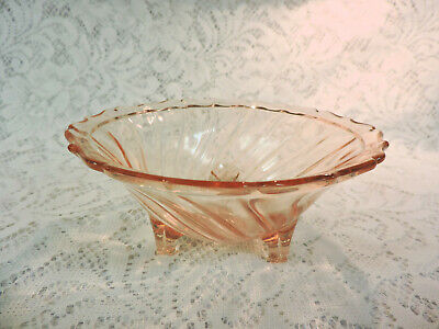 Pink Depression Glass Footed Swirl Bowl