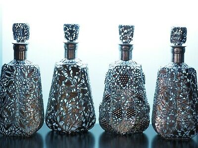 Exquisite Set of Antique Glass Decanters with Sterling Silver Overlay (C. 1900)