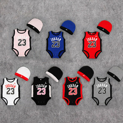 Newborn JORDAN 23 ROMPER +HAT Baby Boy Girl Kids Romper Bodysuit Clothes Outfit
