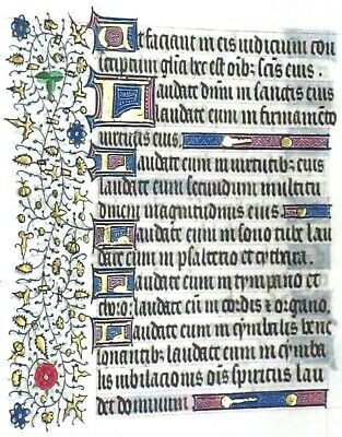 Very large Medieval Illuminated Book of Hours Manuscript Lf.Psalm150,c.1450