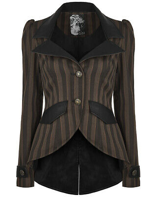 Punk Rave Womens Steampunk Jacket Brown Black Stripe Tailcoat Gothic Victorian