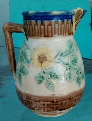 """Griffin Hill Smith Majolica BUTTERFLY Spout PITCHER~5"""" Etruscan WILD ROSE"""