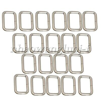 20pcs Metal Square Rectangle Rings Webbing Belts Buckle Adjusters Silver