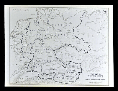 West Point WWII Map Allied Victory & Occupation Zones Berlin Germany Europe End