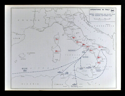 West Point WWII Map Operations in Italy Messina Taranto Naples Palermo Sicily