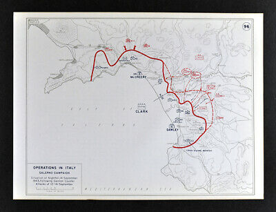 West Point WWII Map Italy Salerno Campaign Expanding the Beachhead Sept. 14