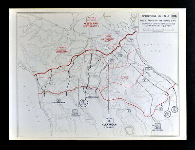 West Point WWII Map Italy Operations Gothic Line Battle of Rimini Pisa Florence