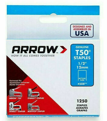 "PACK OF 1250 x GENUINE ARROW T50 12mm (1/2"") HEAVY DUTY STAPLES - UPHOLSTERY"