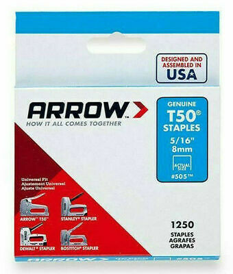 "PACK OF 1250 x GENUINE ARROW T50 8mm (5/16"") HEAVY DUTY STAPLES - UPHOLSTERY"