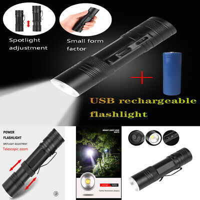 5000LM Zoomable XHP50 LED Flashlight Torch 18650 or 26650 Battery Rechargeable