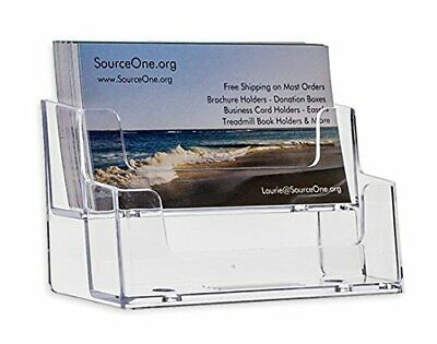 SourceOne 2 Tier Premium Acrylic Clear Business Card Holder, Clear (XDEEP2PCL...