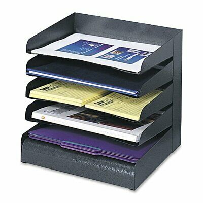 Safco Products 3127BL Steel Desk Organizer Tray Sorter with 5 Shelves, Black