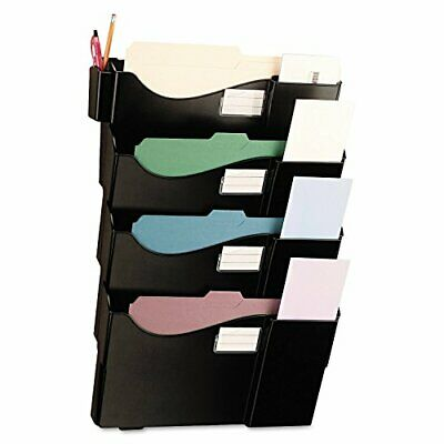 Universal Grande Central Filing System, Four Pocket, Wall Mount, Plastic, Bla...