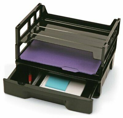 Officemate Recycled Drawer with Two Letter Trays, Black (26094)