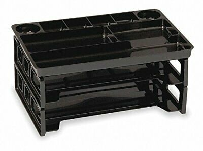 Officemate Two Letter Trays with 9 Compartment Drawer Organizer, Black (22122)
