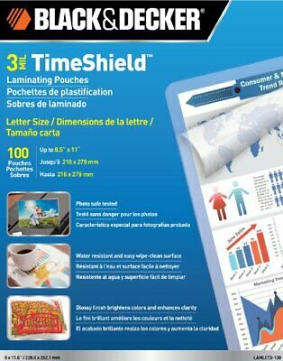 BLACK  DECKER TimeShield Thermal Laminating Pouches, Letter, 3 mil - 100 Pack...