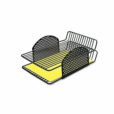 Fellowes 22302 Perf-Ect Double Letter Tray, Two Tier, Wire, Black