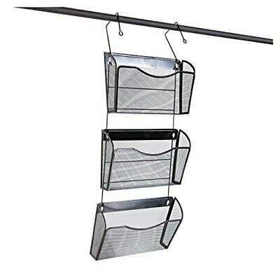 Universal 20011 Mesh Three-Pack Wall Files with Hanger, Letter, Black