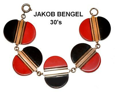 FAB 1930's ART DECO JAKOB BENGEL BRACELET CHROME with BLACK and RED GALALITH
