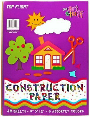 Top Flight Construction Paper, Assorted Colors, 9 x 12 Inches, 48 Sheets, Pol...