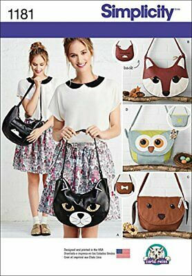 Simplicity Patterns US1181OS Animal Bags, OS (ONE SIZE)