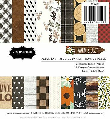 American Crafts Pebbles Patterned PB JH m &amp Cozy Paper Pads (36 Sheets), 6...