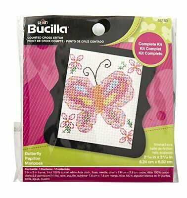 BUCILLA 46150 Counted Cross Stitch Beginner Stitchery Mini Kit, Butterfly