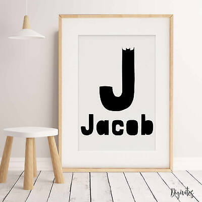 NURSERY BEDROOM CHILDREN'S WALL ART Baby Boy Batman Personalised Name Print