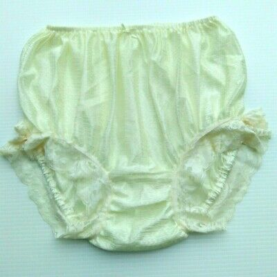 Underwear Panties Lace Brief Nylon Sheer Woman Man LGBTQ Light Yellow XXL