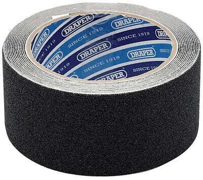 Genuine DRAPER 3.7M x 50mm Black Heavy Duty Safety Grip Tape Roll 63384