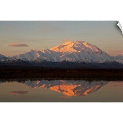 """Alpenglow On Mt. McKinley Reflected In Tundra Pond At Sunrise"" Wall Decal"
