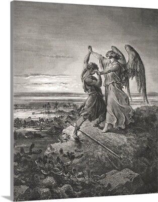 Solid-Faced Canvas Print Wall Art entitled Jacob Wrestling With The Angel