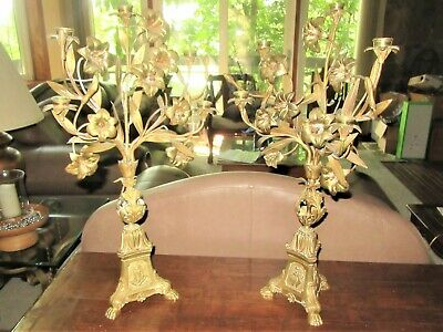 2  Antique Altar Church Pair Gilt Brass Candelabra leaves Jesus mary  Sacred