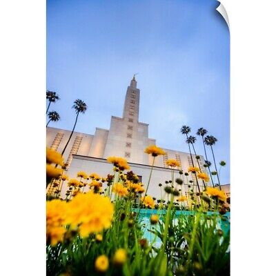 """""""Los Angeles California Temple with Flowers, Los Angeles, California"""" Wall Decal"""