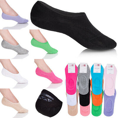 Womens Invisible Neon Socks No Show Cotton Rich Footsies MULTIPACK 3-8UK FS73023